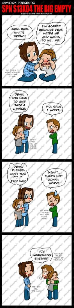 """kamidiox: """" spn 13x04 Missing scene by KamiDiox Dean tried his best to resist. He did. Seriously. """""""