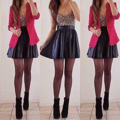 Hot Black Pleated Faux Vegan Leather Skater Skirt Mini Circle A Line Flare