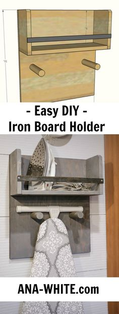 Ana White | Iron Board Holder - DIY Projects.  #Laundry