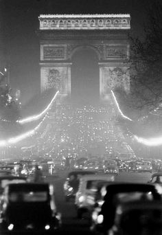 The Champs Elysees and the Arc de Triomphe, Paris, 1950