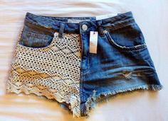 shorts, lace, lace shorts, jeans, crochet - Wheretoget