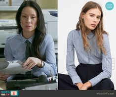 Joan's blue stripe and dot shirt on Elementary.  Outfit Details: https://wornontv.net/57286/ #Elementary