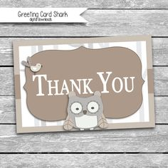 4x6 Owl Thank You Card  Coordinates with by GreetingCardShark