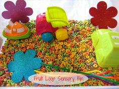 I'm betting this Fruit Loop Sensory Bin smelled AWESOME!