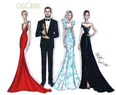 Oscars 2016 by Hayden WilliamsCate Blanchett in Armani PrivéJennifer Garner in Atelier VersaceCharlize Theron in DiorLeonardo Dicaprio in Armani
