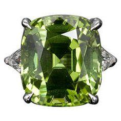 Burma 20.30 Carat Peridot Diamond Platinum Ring $34.500