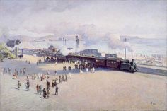 The Old Mumbles Train by William Grant Murray 1928 ( Swansea Bay. Swansea Bay, Train Art, Art Uk, Paris Skyline, Travel Destinations, Dolores Park, Old Things, Cymru, America