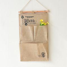 buy stamps jute three pocket multi layer carrying bag wall hanging organizers make up bath pocket #jute #bags