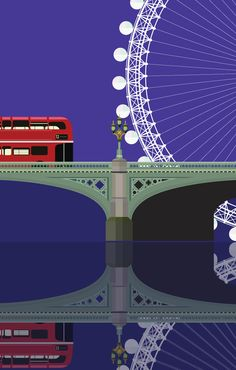Westminster Bridge and The Eye - illustration by Eye Illustration, Westminster Bridge, Rule Britannia, Loft, London, Pattern, Color, Patterns, Colour