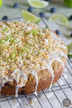 Cake for breakfast? You'd better believe it! This Blueberry, Lime and Coconut Breakfast Cake is dairy-free, super moist and packed with lots of tropical flavor. What's For Breakfast, Breakfast Dishes, Breakfast Recipes, Pancake Breakfast, Cake Recipes, Dessert Recipes, Cake Tasting, Dairy Free Recipes, Gluten Free