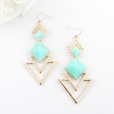 Pair of Chic Style Square Faux Gem Design Triangle Drop Earrings For WomenEarrings | RoseGal.com