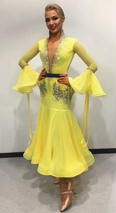 Bright yellow ballroom dance dress - for girls who can rock yellow color :)