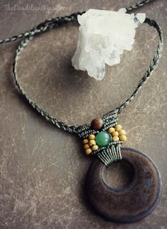 macrame necklace with ceramic focal by TheDandelionGypsy on Etsy
