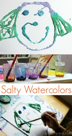 Watercolor and salt painting is one of our oldest favorite art activities. It's always a hit, whether with my kids, children's art groups, or play dates. Technique à essayer dans le projet des monstres? Art Activities For Kids, Creative Activities, Art For Kids, Summer Crafts, Fun Crafts, Crafts For Kids, Kindergarten Art, Preschool Art, Projects For Kids
