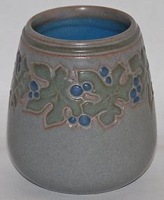 Marblehead Pottery Hand Decorated Three Color Vase from Just Art Pottery