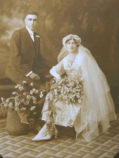 Antique Wedding Photograph Bride and Groom Both Seated Chicago Bonnet Headpiece