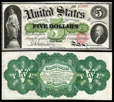 US 5 Dollar Note 1862 Mar 10 Serial# 16503 Signatures: Chittenden / Spinner Statue of Freedom Portrait: Alexander Hamilton Thousand Dollar Bill, Fiat Money, Rare Coins Worth Money, Legal Tender, Coin Worth, Gold Rate, Old Money, Old Coins, Antique Coins