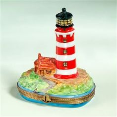 Limoges Red and White Lighthouse Box The Cottage Shop
