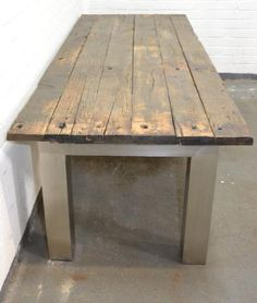 Oak industrial wagon wood table - Exclusive tables, chairs and armchairs - BVA Auctions - Online Auctions Wood Table, Dining Table, Armchairs, Auction, Rustic, Furniture, Home Decor, Lounge Chairs, Wing Chairs
