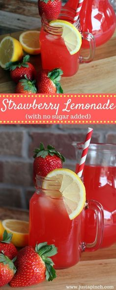 This strawberry lemonade recipe will be extremely refreshing on a hot summer day. This strawberry lemonade recipe will be extremely refreshing on a hot summer day. Strawberry and lemon are quintessential summertime flavors. Fruit Drinks, Smoothie Drinks, Non Alcoholic Drinks, Cocktail Drinks, Smoothies, Beverages, Cocktails, Smoothie Recipes, Refreshing Drinks