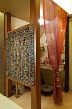 Interior Design by Sonal Bhatia Designs, Mumbai. Browse the largest collection of interior design photos designed by the finest interior designers in India. Indian Interior Design, Modern Interior, Art Deco Living Room, Living Rooms, Mandir Design, Pooja Room Door Design, Home Temple, Indian Interiors, Ethnic Decor