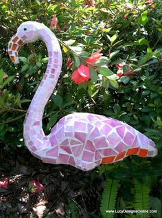 Pink Mosaic Flamingo Garden Art Made from Plastic Pink Dollar Store Flamingo | Lucy Designs
