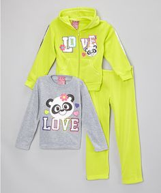 Look what I found on #zulily! Lime & Gray 'Love' Hoodie Set - Infant & Girls #zulilyfinds