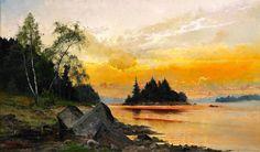 Arvid Mauritz Lindström (1849-1923), Paysage au Coucher du Soleil.