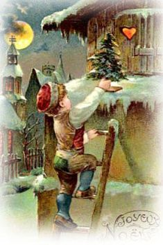 Everyone loves to receive a Christmas card, have a look at those Vintage ones, just beautiful! By La boutique Vintage. Old Time Christmas, Christmas Scenes, Christmas Art, Christmas Greetings, Winter Christmas, Christmas Postcards, Xmas, Vintage Christmas Images, Victorian Christmas