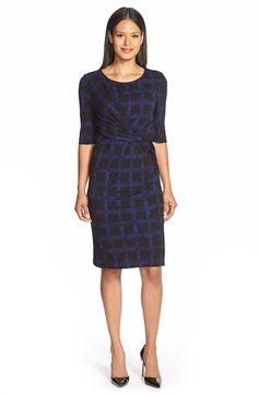 BOSS+'Empiria'+Windowpane+Print+Jersey+Sheath+Dress+available+at+#Nordstrom