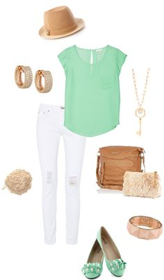 Mint green top & white jeggings. Really cute outfit for a girly girl like myself.
