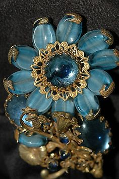 Miriam Haskell Brooch Blue Sunflower Stones, Rhinestones , Filigree Vintage | Jewelry & Watches, Vintage & Antique Jewelry, Costume | eBay!