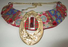 Bib Collar Statement Necklace Red Lame Ribbons by audreymivey, $48.00