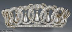 The Vladimir Tiara once belonged to Russian Grand Duchess Maria Pavlovna and was bought in 1921 by Queen Mary    Read more: www.dailymail.co.... castles-tiaras-royal-jewels-and-dress