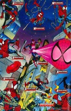 More cards in the 1994 set. Amazing Art by Amazing's artist, Mark Bagley. Comics Spiderman, Spiderman Kunst, All Spiderman, Marvel Comics Superheroes, Marvel X, Amazing Spiderman, Marvel Heroes, Marvel Comic Universe, Marvel Cinematic Universe