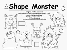 Free Shape Monster Book.  Shape Monster, Shape Monster, Munch, Munch, Munch!  I Want A Red Circl For My Lunch!  Teach shapes and colors.  Freebie For A Teacher From A Teacher! Enjoy! Regina Davis at Fairy Tales And Fiction By 2.