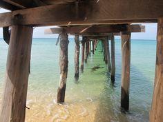 Underneath the jetty, paradise island, Koh Rong Samloem, Cambodia.