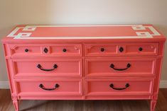 Beautiful coral dresser with stenciled top.