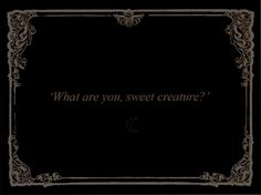 """What are you, sweet creature?"""