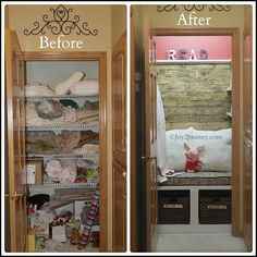 Before & after- Closet turned cozy reading nook
