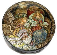 #Palekh, Smirnova, Angel with Princess #RusssianLacquerArt