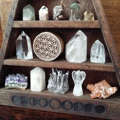Moon Phase Shelf by Stone & Violet. Crystals, Crystal Points, Clusters and Flower of Life #sacredspace #crystals