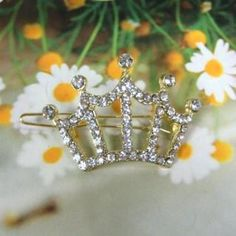 Rhinestone Crown Hair Pin Gold - One Size