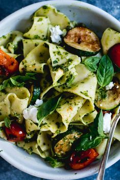 Homemade Pappardelle with Pesto, Zucchini & Goats Cheese | The Brick Kitchen