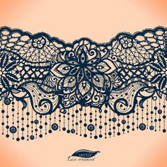 lace: Abstract lace ribbon seamless pattern with elements flowers.