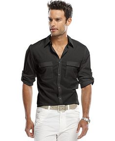 Calvin Klein Shirt, Long Sleeve Roll Up Button Down Shirt - Mens Shirts - Macy's