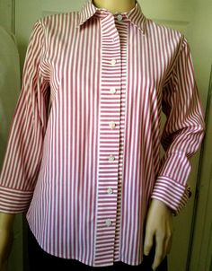 Talbots Blouse Shirt 4  Red/White Striped Long Sleeves Wrinkle Resistant Stretch #Talbots #ButtonFrontShirt #Career