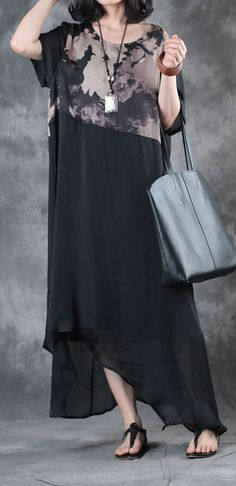 black patchwork prints silk cotton dresses plus size asymmetric sundress