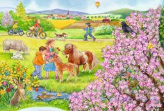 Puzzle mit Frühling, Pony und Velo fahren Preschool Decor, Baby Clip Art, Down On The Farm, Crafts For Kids To Make, Children Images, Cartoon Pics, Scrapbook Stickers, Vintage Images, Christmas Crafts