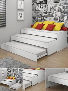 Three sofas/single beds in one. family guest room solution. Doesn't look too hard to make either.: